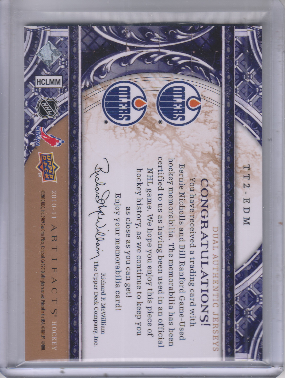 2010-11 Artifacts Tundra Tandems Bronze #TT2EDM Bill Ranford/Bernie Nicholls back image