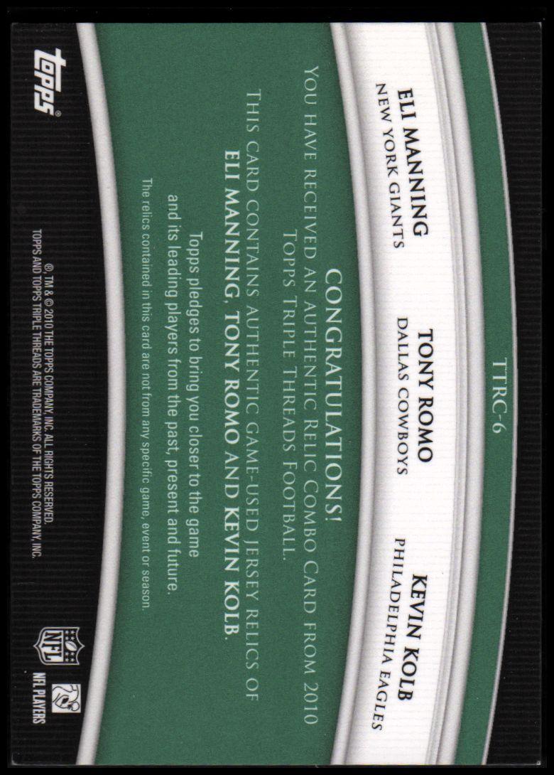 2010 Topps Triple Threads Relic Combos Emerald #TTRC6 Eli Manning/Tony Romo/Kevin Kolb back image