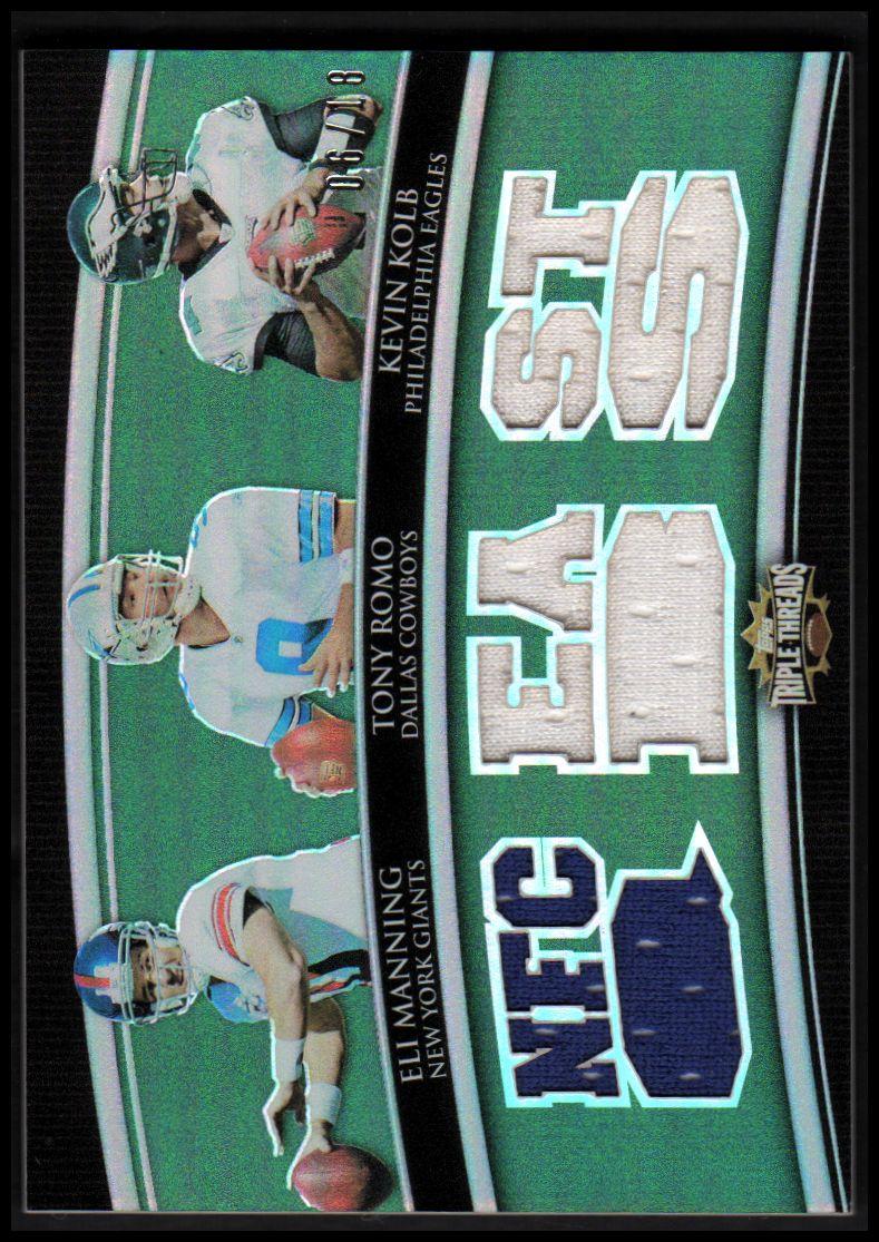 2010 Topps Triple Threads Relic Combos Emerald #TTRC6 Eli Manning/Tony Romo/Kevin Kolb
