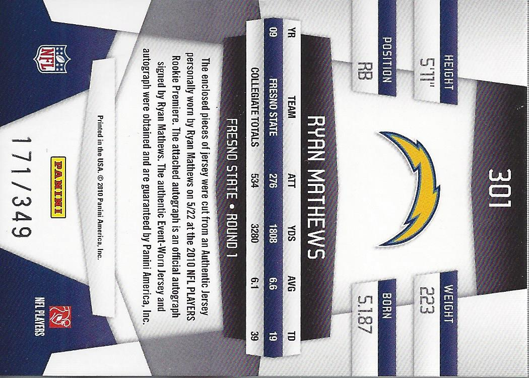 2010 Certified #301 Ryan Mathews JSY AU/349 RC back image