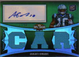 2010 Topps Triple Threads Emerald #133B Armanti Edwards JSY AU