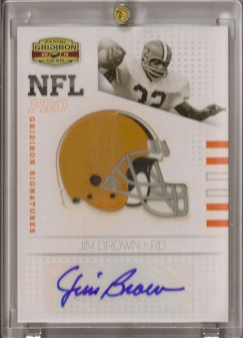 2010 Panini Gridiron Gear NFL Pro Gridiron Signatures #1 Jim Brown/25