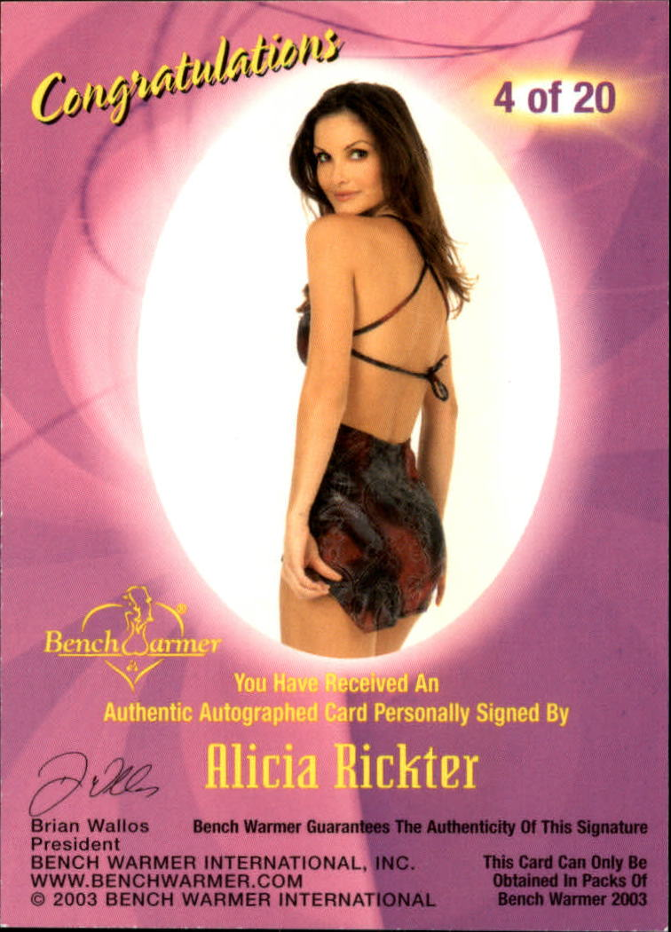 2003 Bench Warmer Series One Autographs #4 Alicia Rickter back image