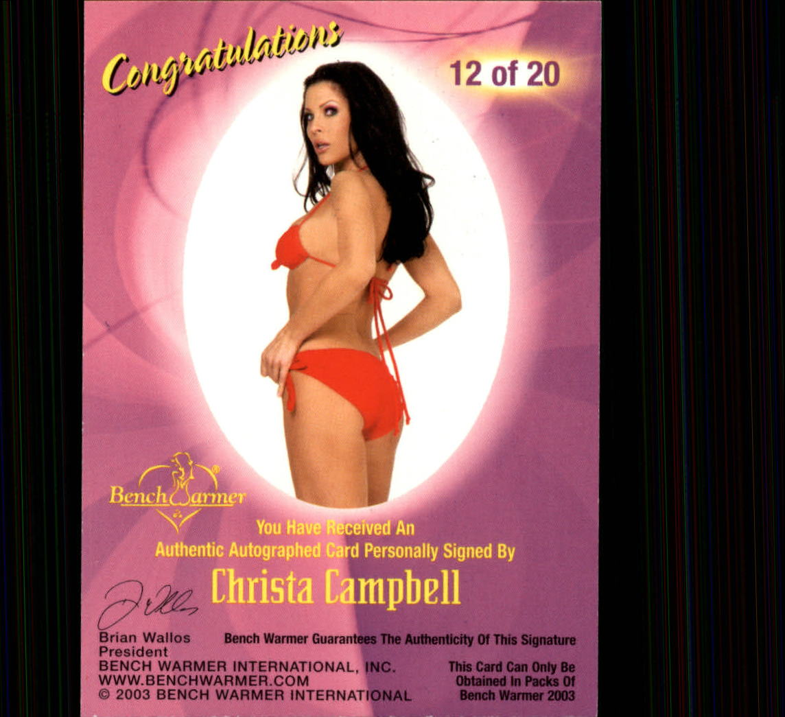 2003 Bench Warmer Series One Autographs #12 Christa Campbell back image