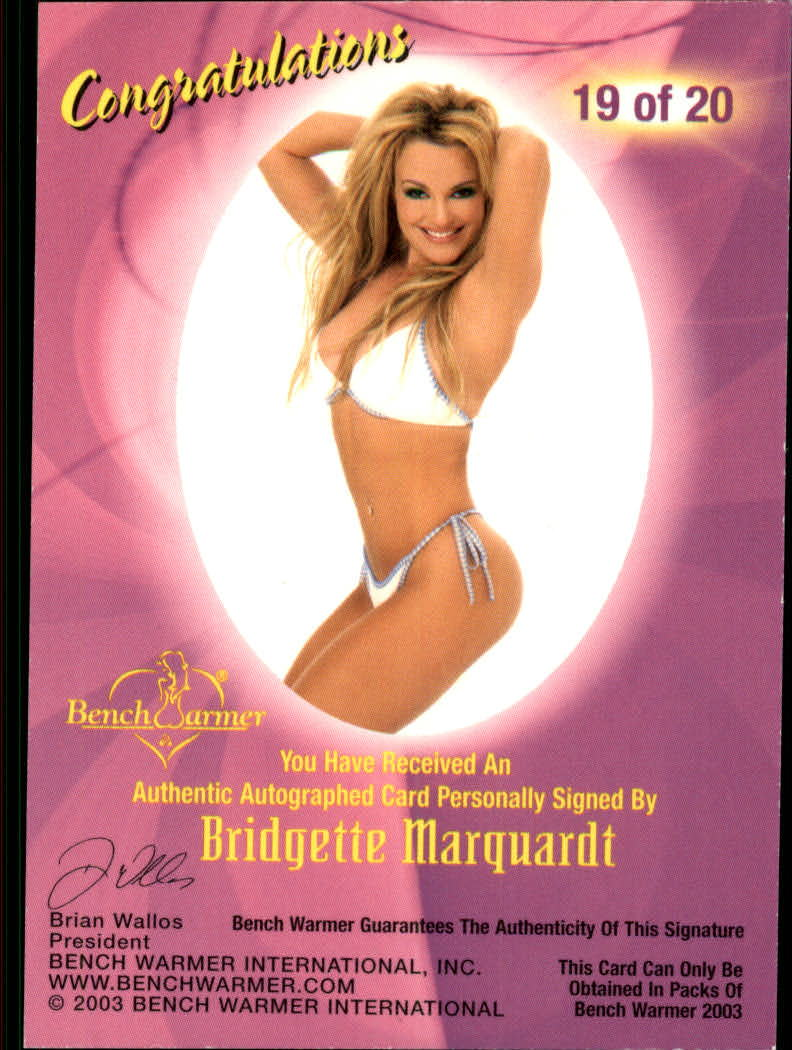 2003 Bench Warmer Series One Autographs #19 Bridgette Marquardt back image