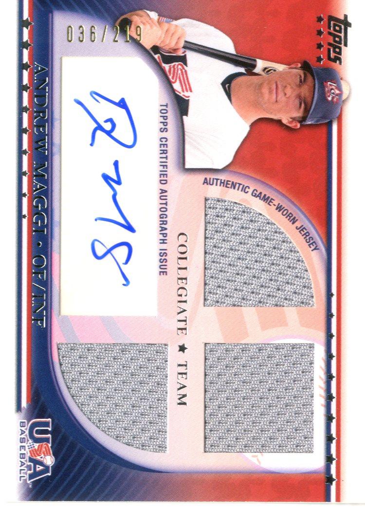 2010 USA Baseball Triple Jersey Autographs #AM Andrew Maggi