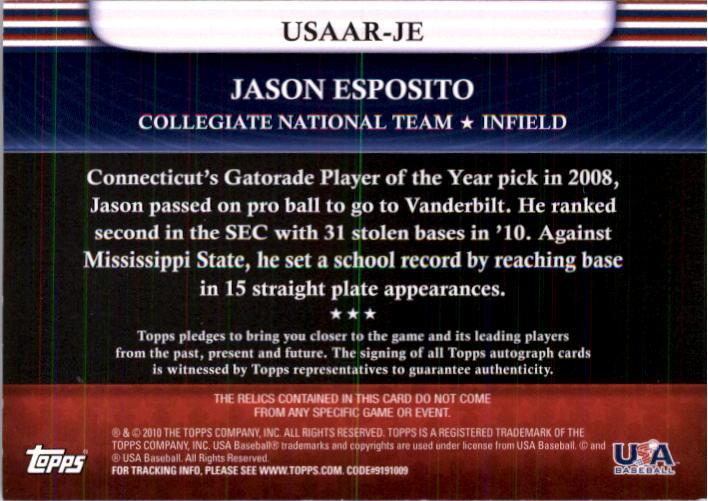 2010 USA Baseball Triple Jersey Autographs #JE Jason Esposito back image