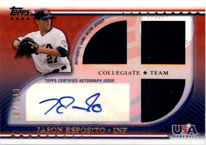 2010 USA Baseball Triple Jersey Autographs #JE Jason Esposito