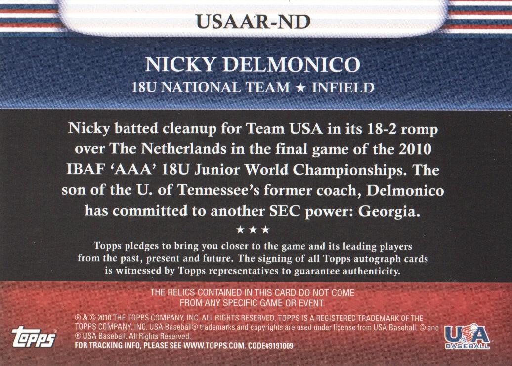 2010 USA Baseball Triple Jersey Autographs #ND Nicky Delmonico back image