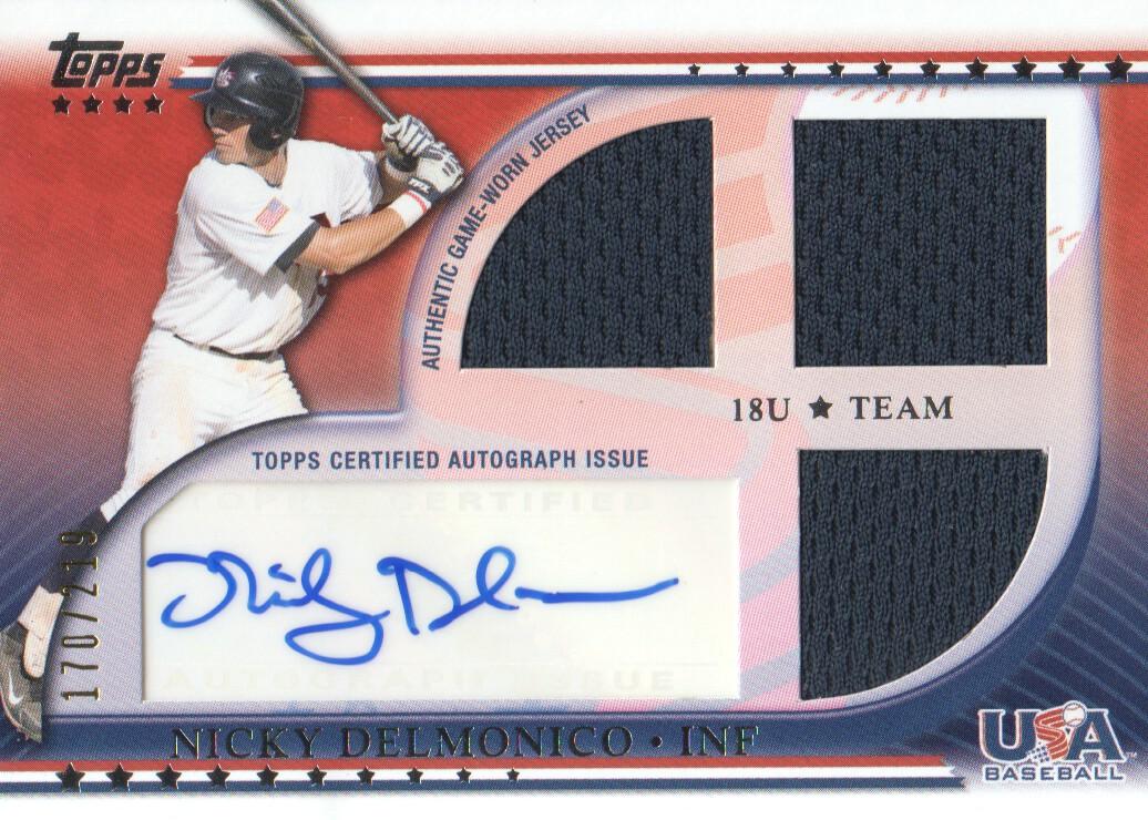 2010 USA Baseball Triple Jersey Autographs #ND Nicky Delmonico