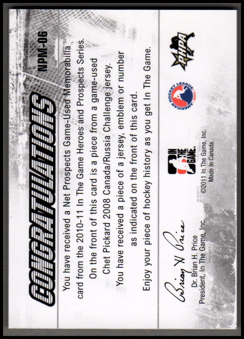 2010-11 ITG Heroes and Prospects Net Prospects Jerseys Black #NPM06 Chet Pickard back image