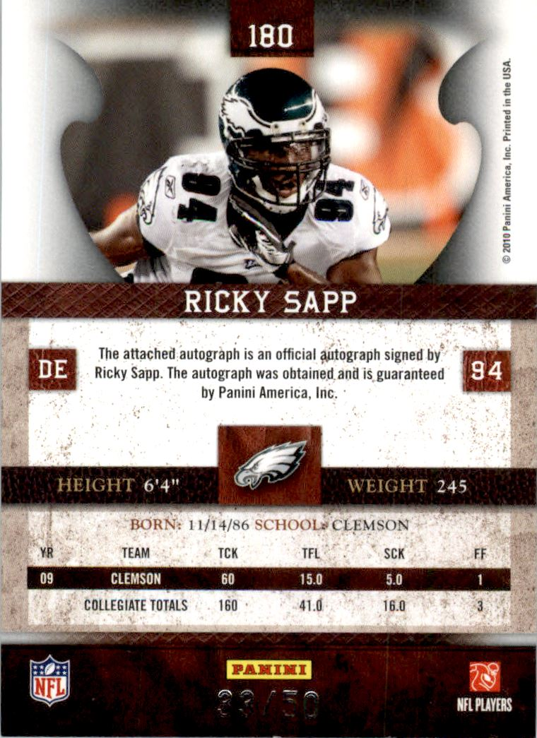 2010 Panini Plates and Patches Signatures Silver #180 Ricky Sapp back image