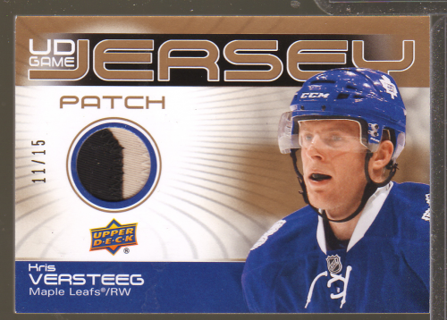 2010-11 Upper Deck Game Jerseys Patches #GJ2KV Kris Versteeg