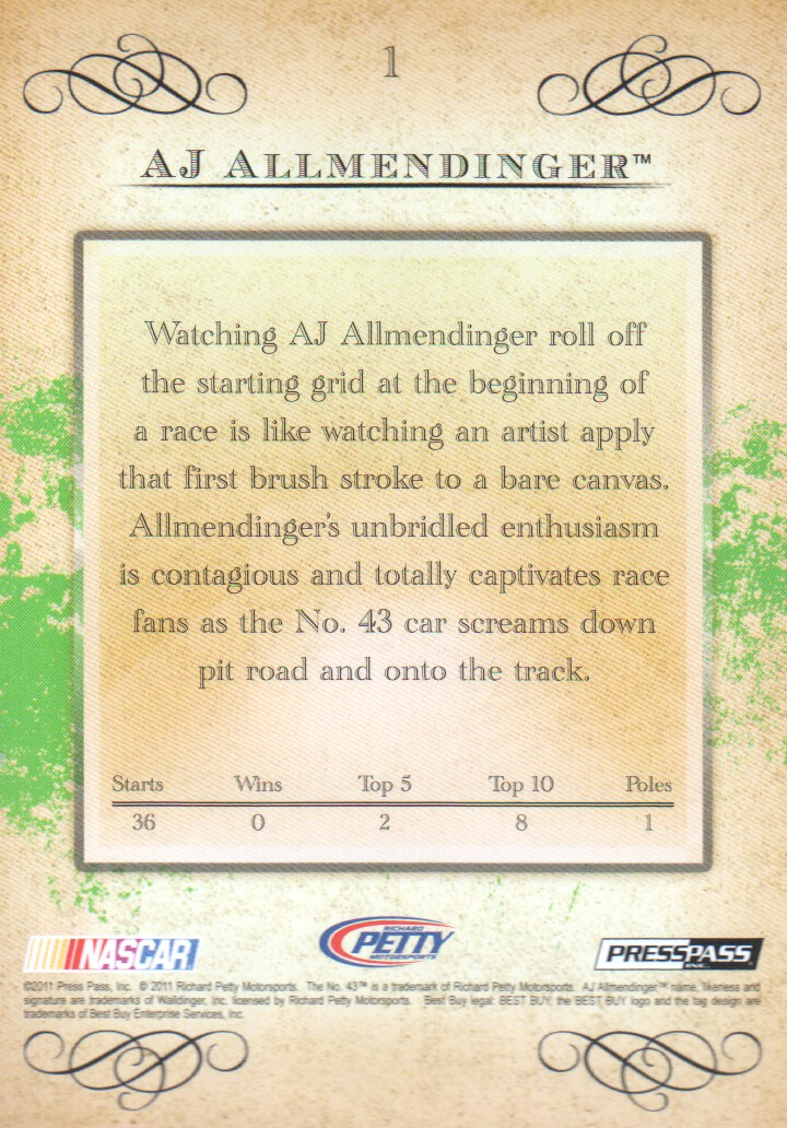 2011 Press Pass Eclipse #1 A.J. Allmendinger back image