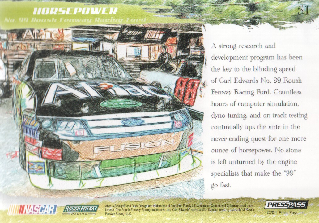 2011 Press Pass Eclipse #51 Carl Edwards' Car HP back image