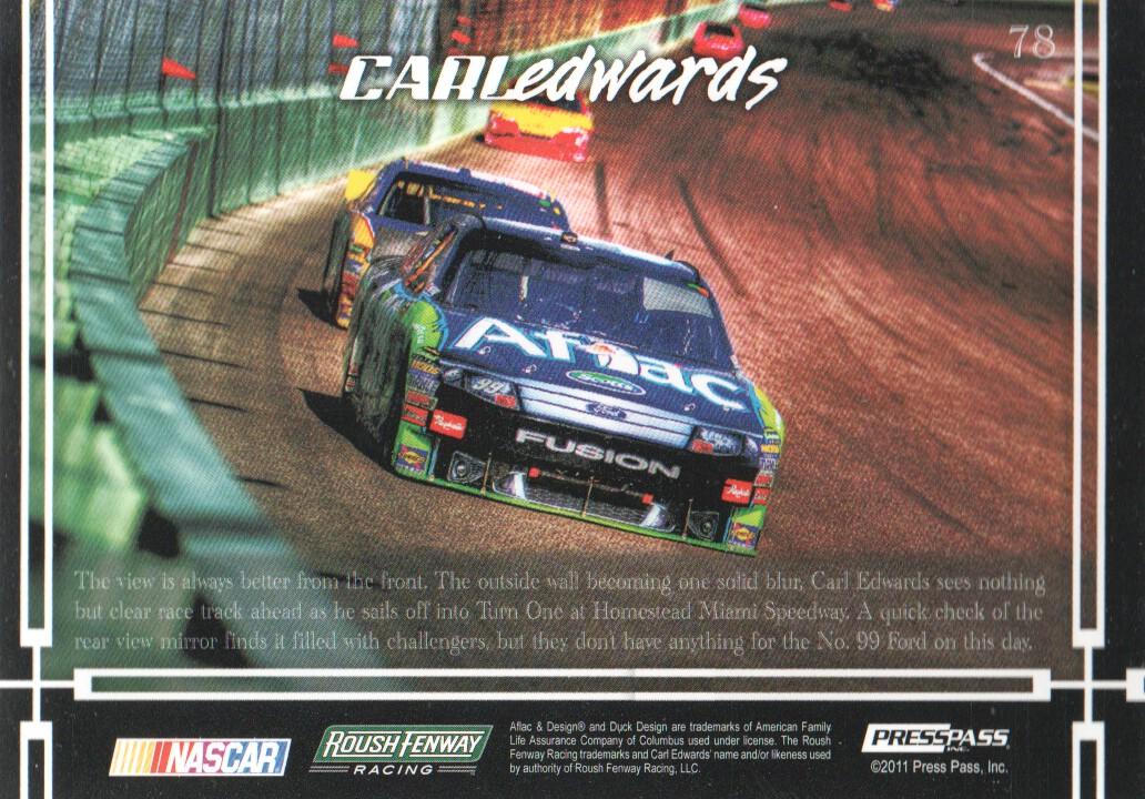 2011 Press Pass Eclipse #78 Carl Edwards' Car SS back image