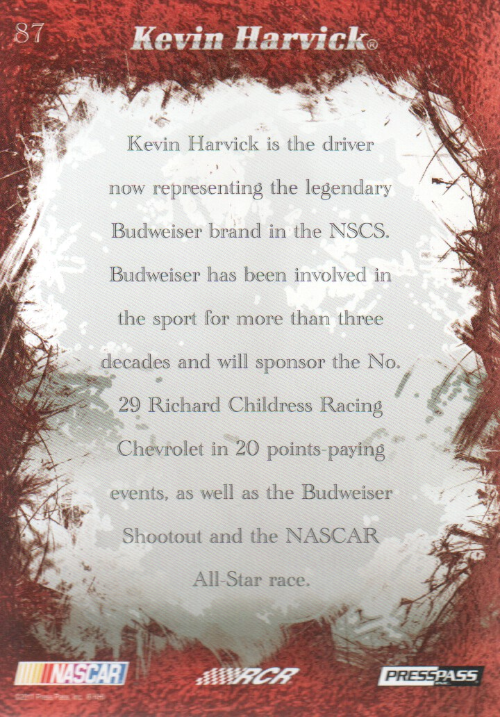 2011 Press Pass Eclipse #87 Kevin Harvick 2011 back image