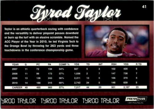 2011 Press Pass Reflectors #41 Tyrod Taylor back image