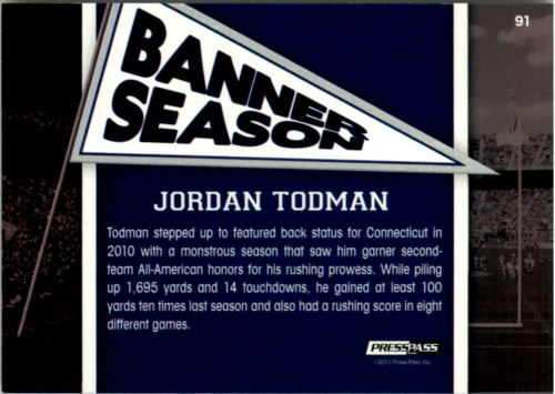 2011 Press Pass Reflectors #91 Jordan Todman BS back image