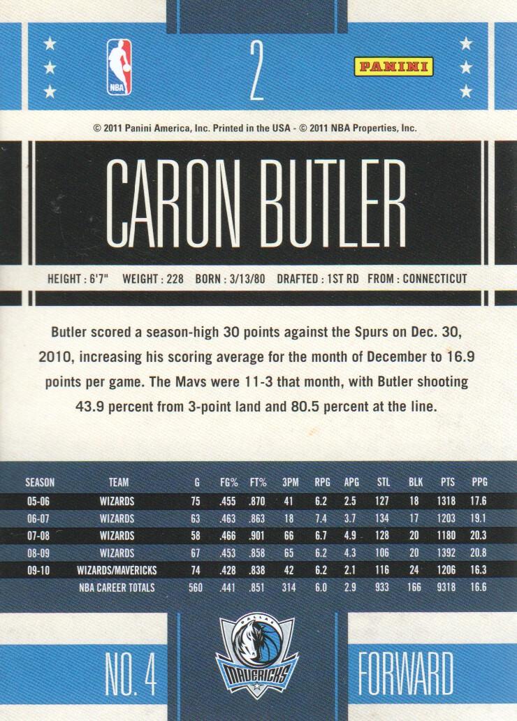 2010-11 Classics #2 Caron Butler back image