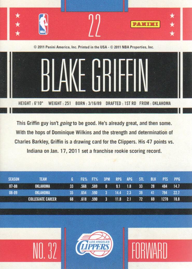 2010-11 Classics #22 Blake Griffin back image