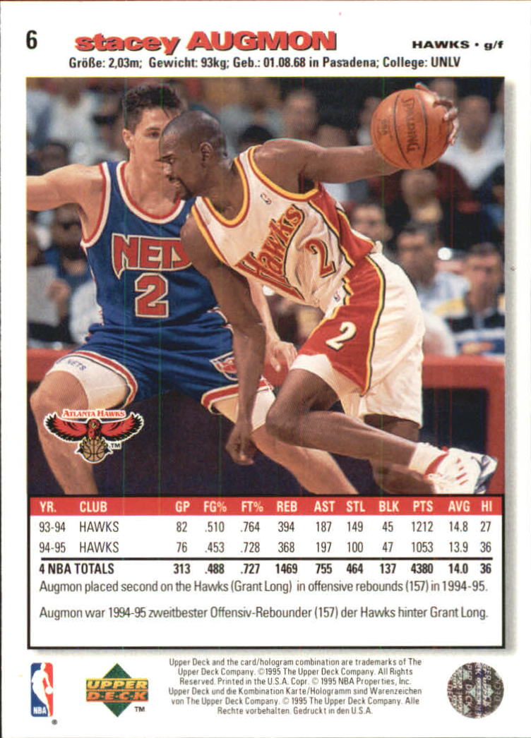 1995-96 Collector's Choice International German I #6 Stacey Augmon back image