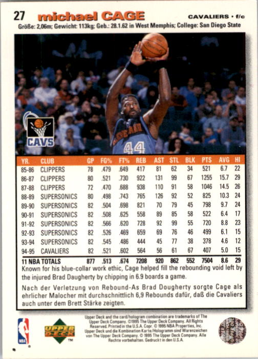 1995-96 Collector's Choice International German I #27 Michael Cage back image