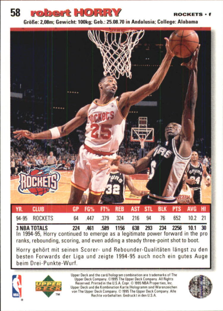 1995-96 Collector's Choice International German I #58 Robert Horry back image