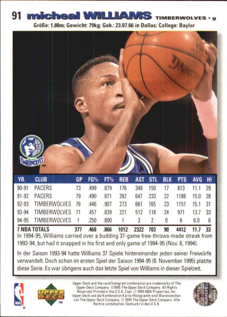 1995-96 Collector's Choice International German I #91 Micheal Williams back image