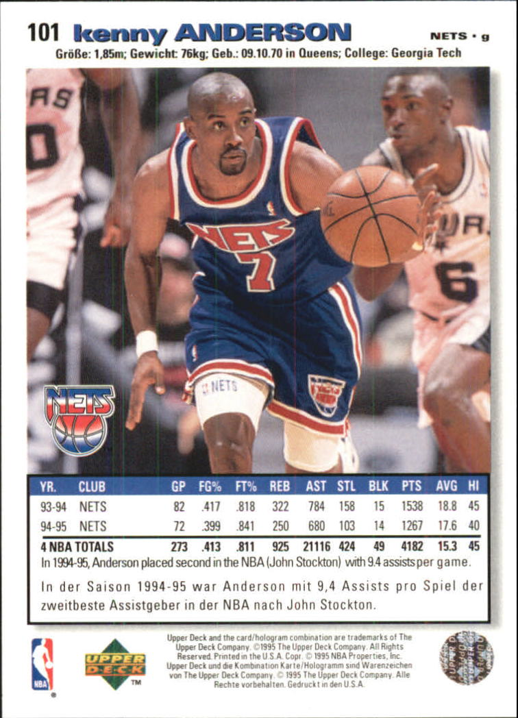 1995-96 Collector's Choice International German I #101 Kenny Anderson back image