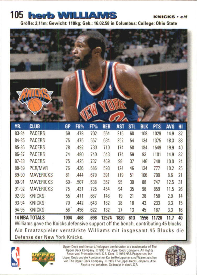 1995-96 Collector's Choice International German I #105 Herb Williams back image