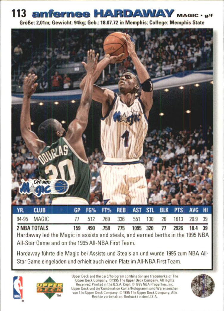 1995-96 Collector's Choice International German I #113 Anfernee Hardaway back image