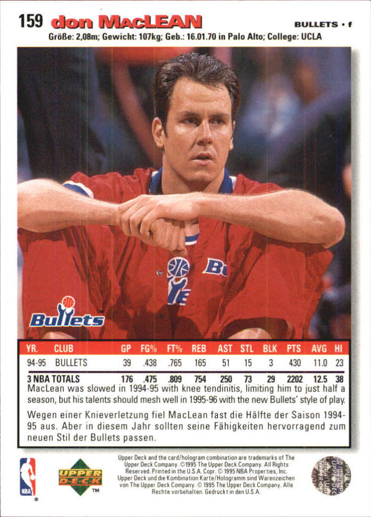 1995-96 Collector's Choice International German I #159 Don MacLean back image