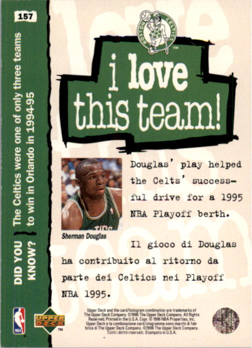 1995-96 Collector's Choice International Italian II #157 Sherman Douglas LOVE back image