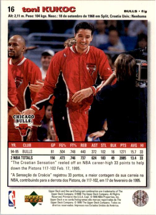 1995-96 Collector's Choice International Portuguese #16 Toni Kukoc back image