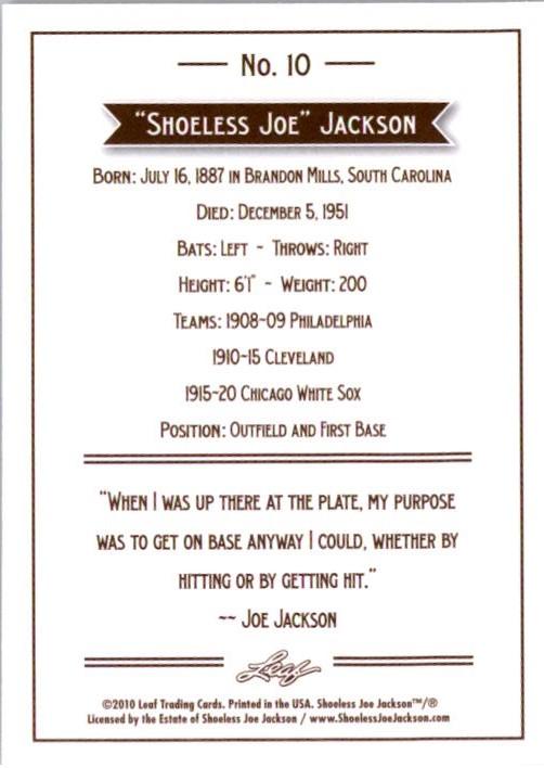 2010 Leaf Joe Jackson #10 Joe Jackson back image