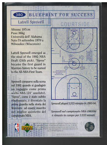 1994-95 Collector's Choice International Italian Gold Signatures #379 Grant Hill BP back image
