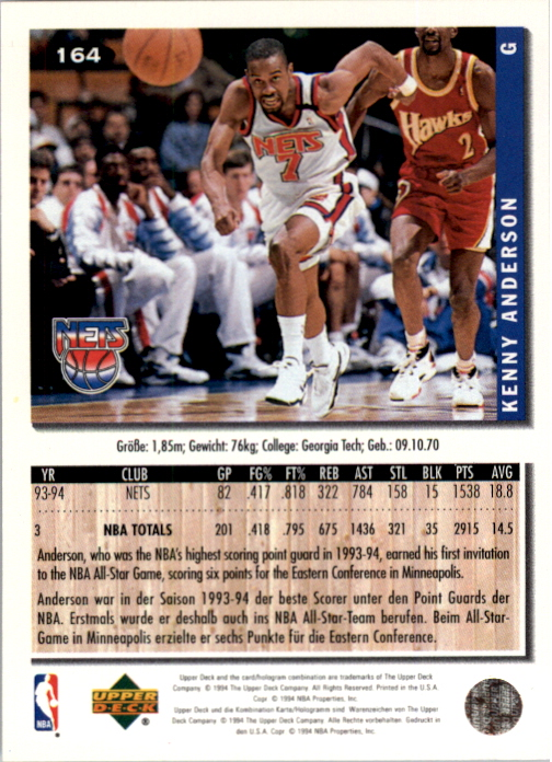 1994-95 Collector's Choice International German #164 Kenny Anderson back image