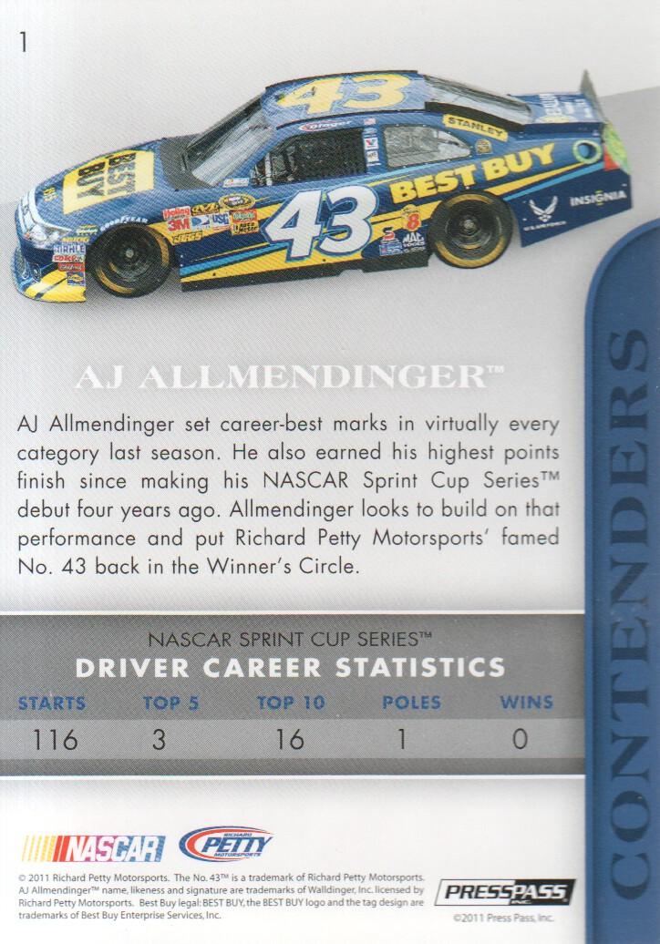 2011 Press Pass Premium #1 A.J. Allmendinger back image