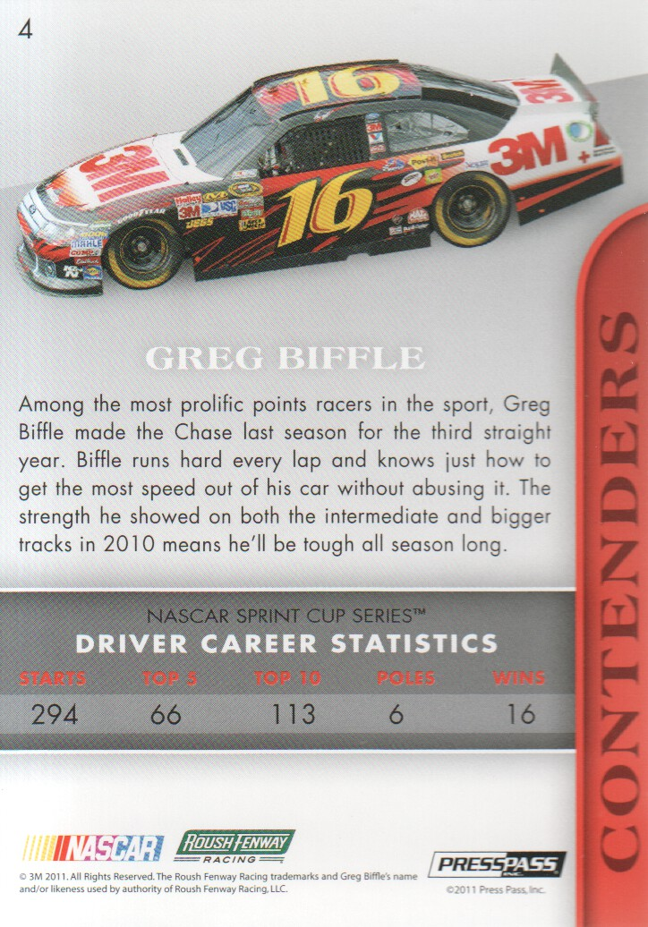 2011 Press Pass Premium #4 Greg Biffle back image