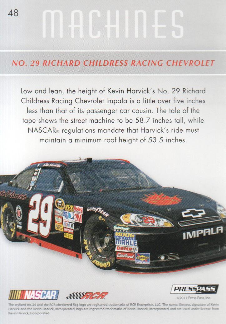 2011 Press Pass Premium #48 Kevin Harvick's Car M back image