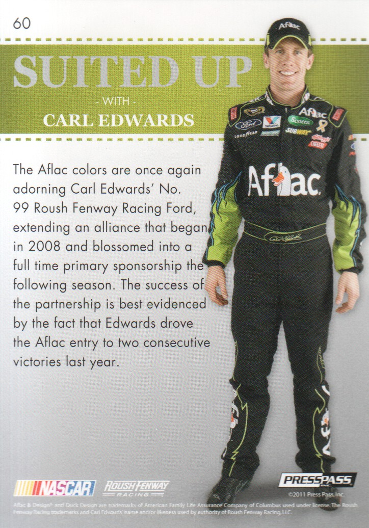 2011 Press Pass Premium #60 Carl Edwards SU back image