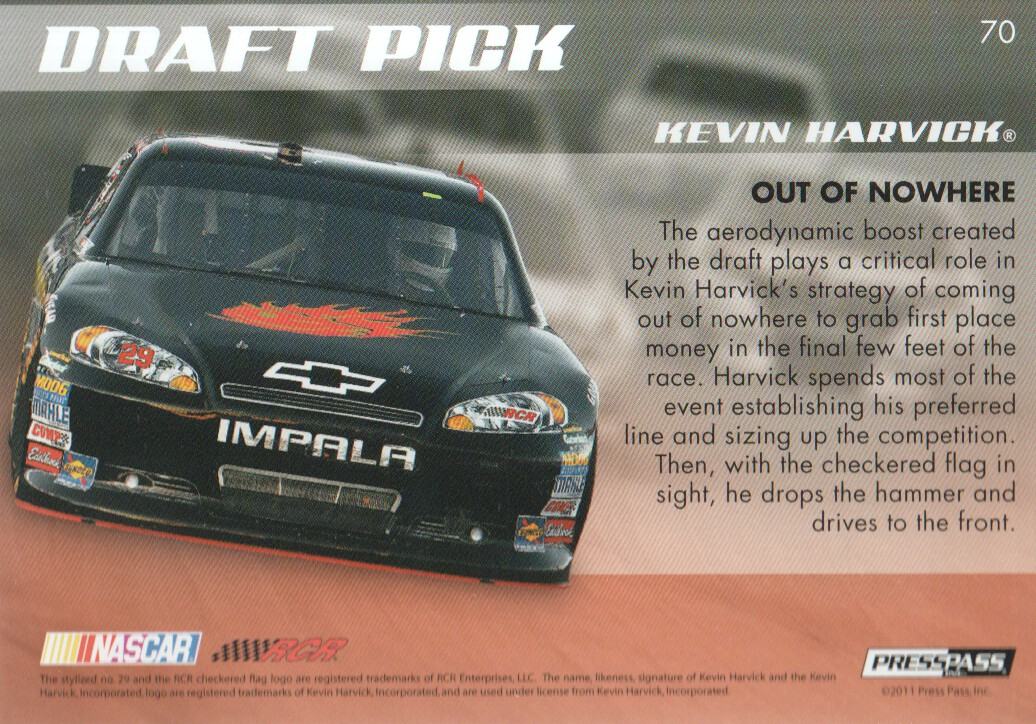 2011 Press Pass Premium #70 Kevin Harvick's Car DP back image