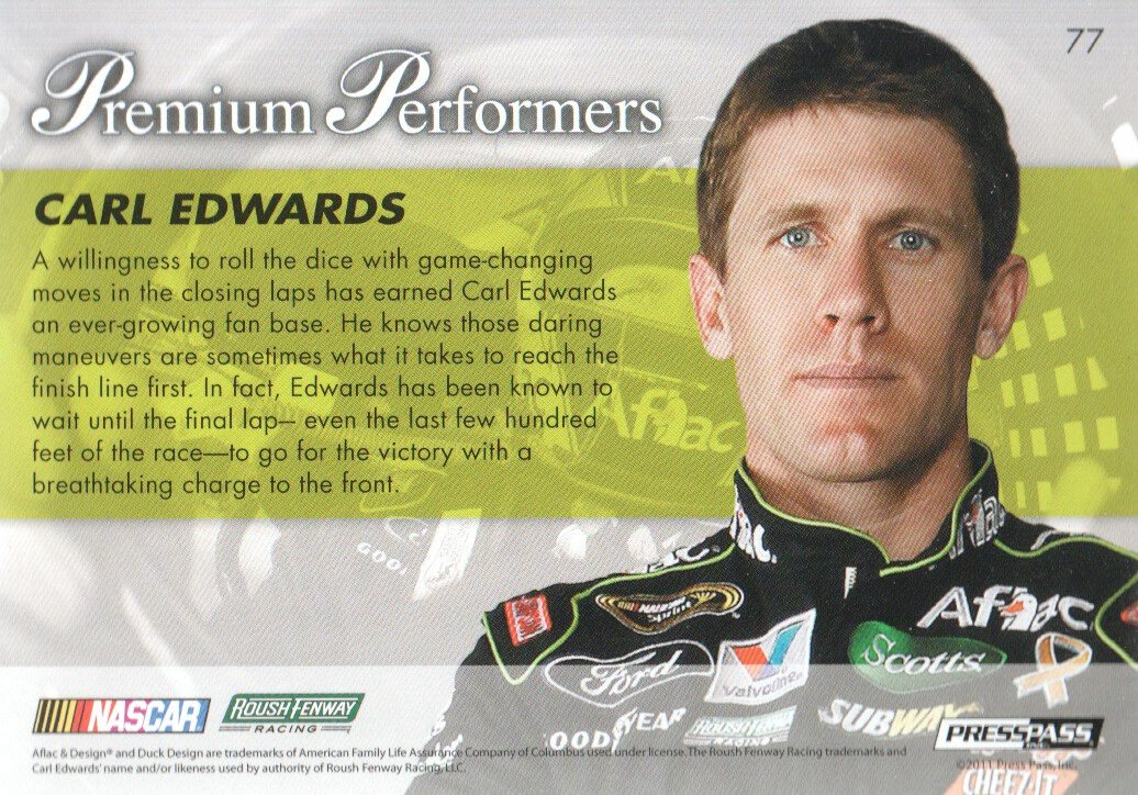 2011 Press Pass Premium #77 Carl Edwards PP back image