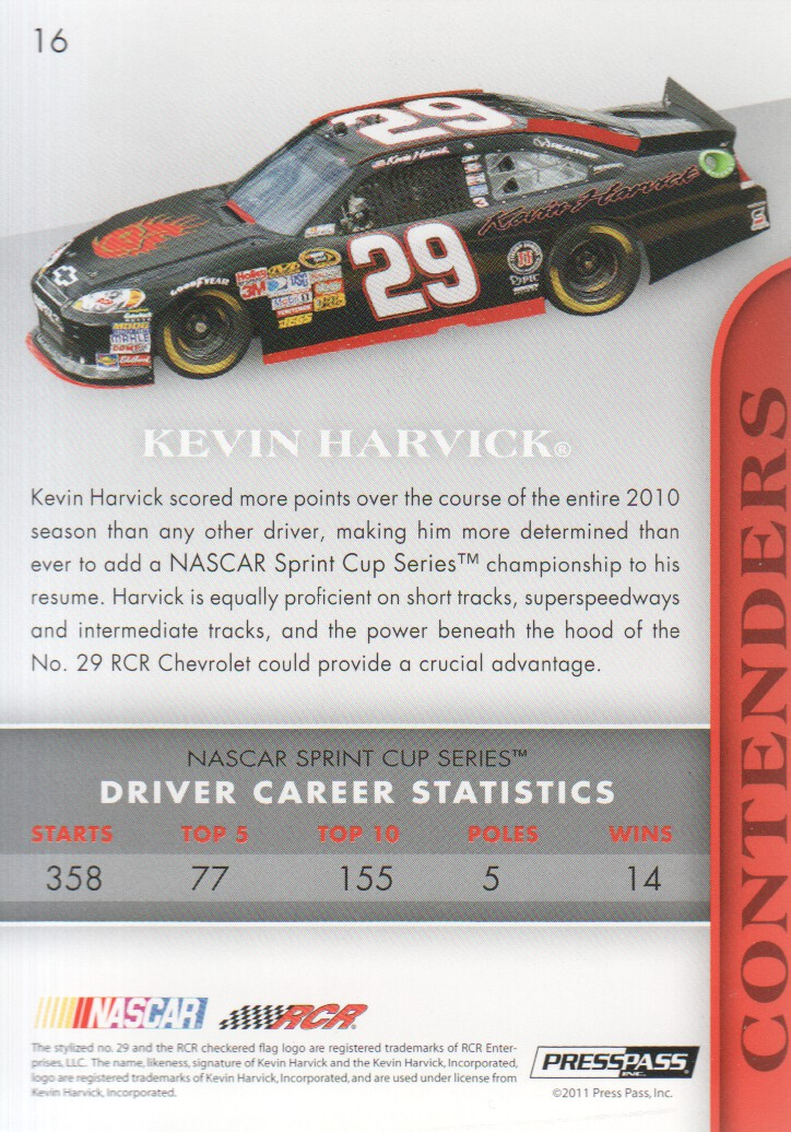 2011 Press Pass Premium #16A Kevin Harvick back image