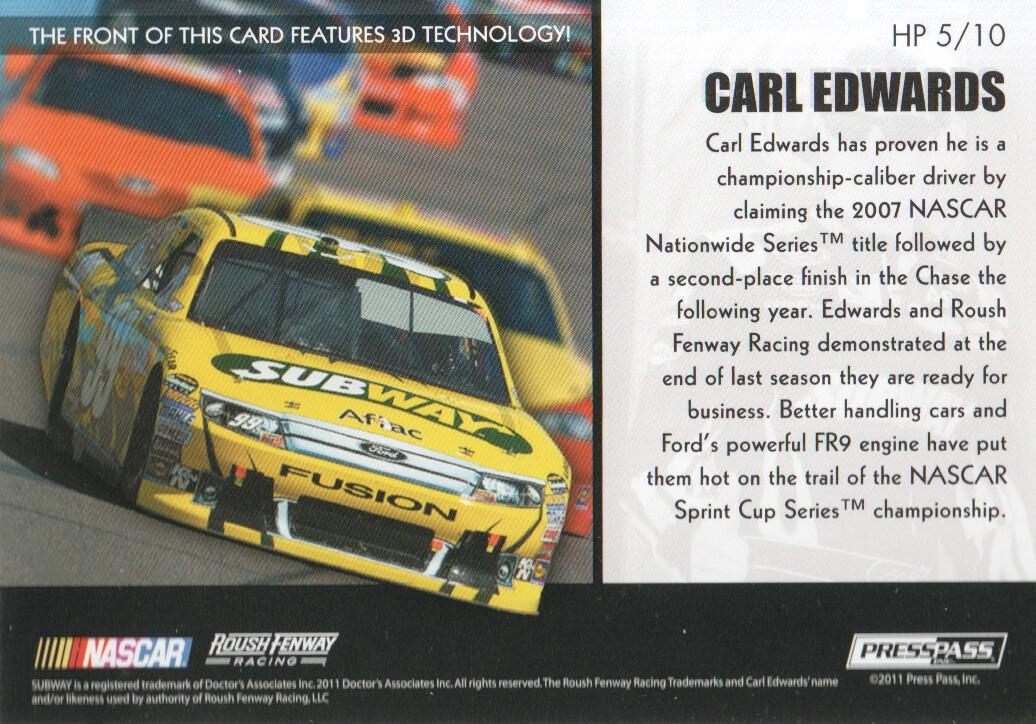 2011 Press Pass Premium Hot Pursuit 3D #HP5 Carl Edwards back image
