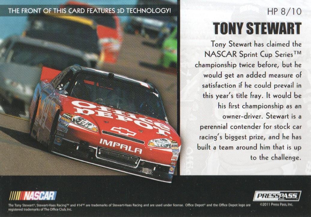 2011 Press Pass Premium Hot Pursuit 3D #HP8 Tony Stewart back image