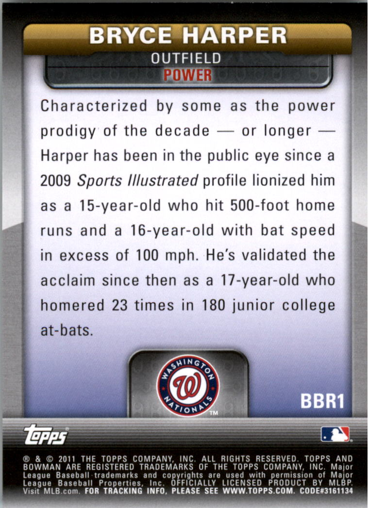 2011 Bowman Bowman's Brightest #BBR1 Bryce Harper back image