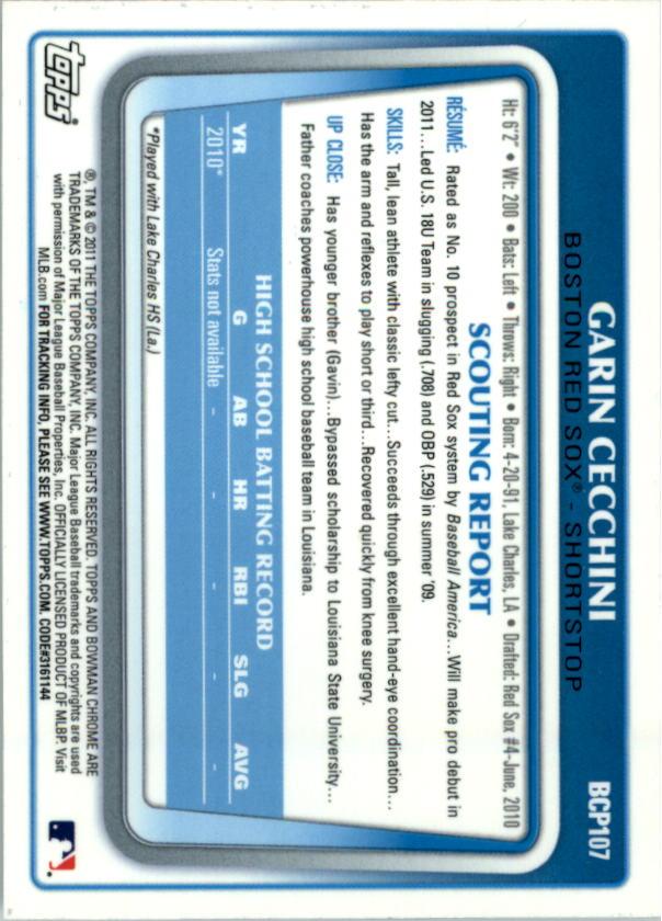2011 Bowman Chrome Prospects #BCP107 Garin Cecchini back image