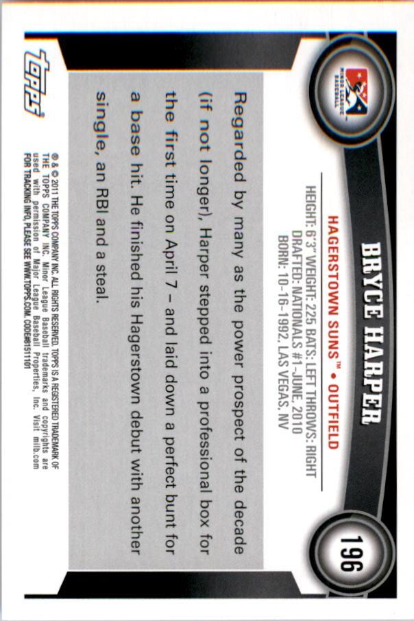 2011 Topps Pro Debut #196 Bryce Harper back image